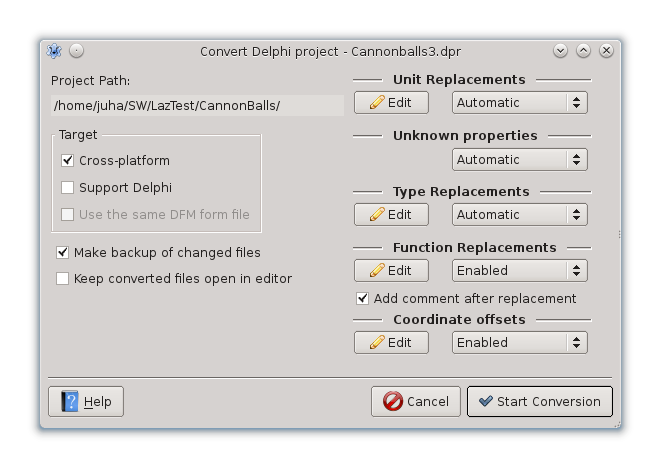 Picture of settings dialog of Delphi converter