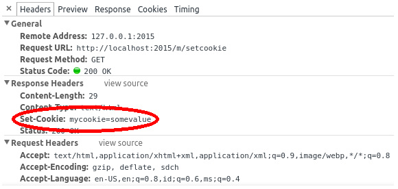Set-Cookie response header in Chrome's developer tools