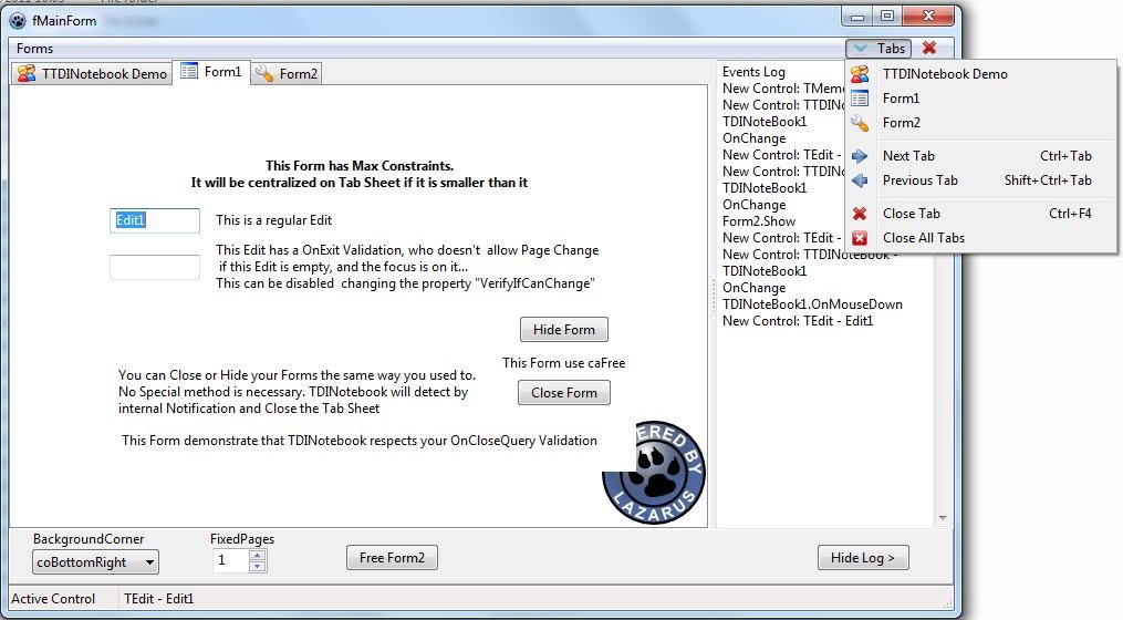 TTDINotebook - Free Pascal wiki