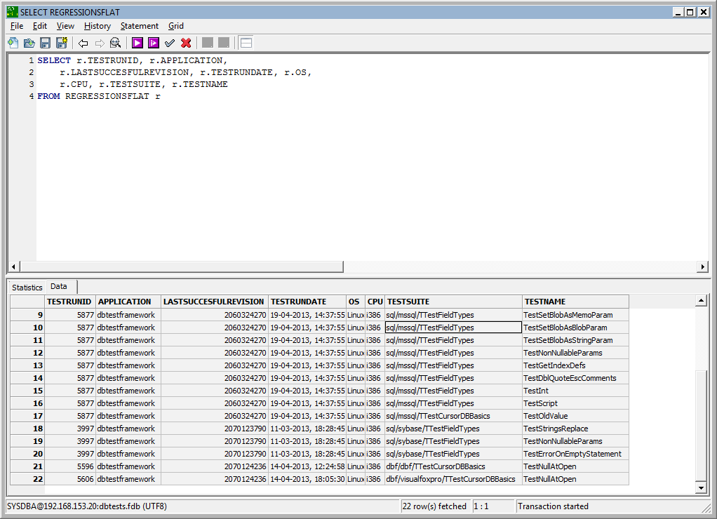 TestDBWriter regression screen